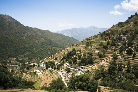 High angle view of small village with terraced field, Uttarkashi District, Uttarakhand, India