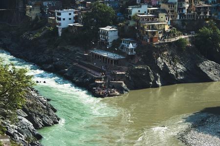devprayag: Confluence of the Alaknanda and Bhagirathi rivers to form the Ganges at Devprayag, Tehri Garhwal, Uttarakhand, India