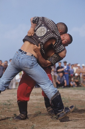 Mongolian wrestling during festive season