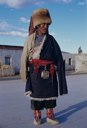 Tibetan man with traditional costume