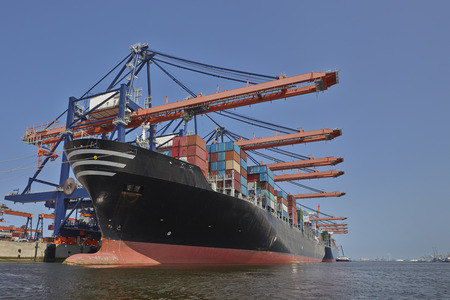 containership: Rotterdam port containership Stock Photo