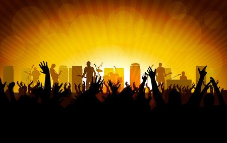 Rock concert, people raising up hands Vector