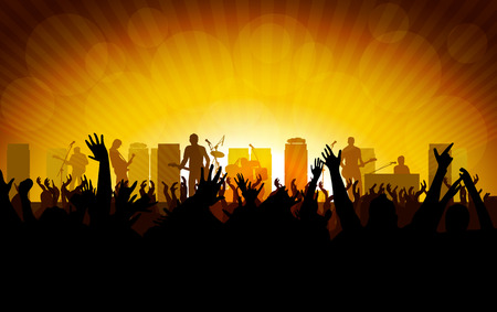 partying: Rock concert, people raising up hands Illustration