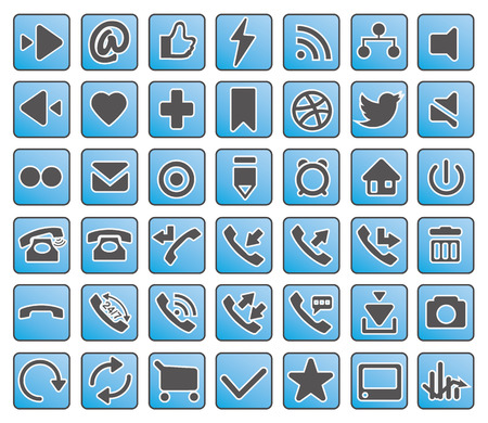 icon of business, finance, network and marketing, simple blue, grey vector set Vector