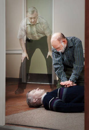 onlooker: CPR Near death experience  Stock Photo