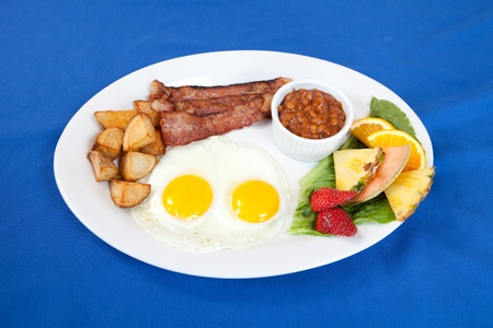sunny side up: Bacon and eggs breakfast platter