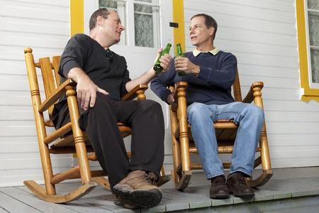 neighbor: Friends enjoying a beer