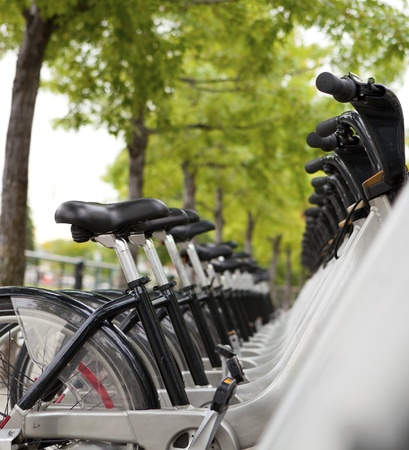 Public Bicycles for rent at a docking station  Editorial