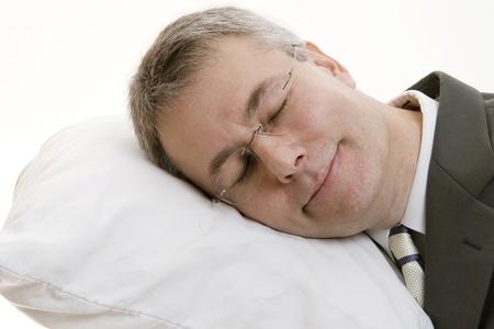 siesta: Sleeping businessman