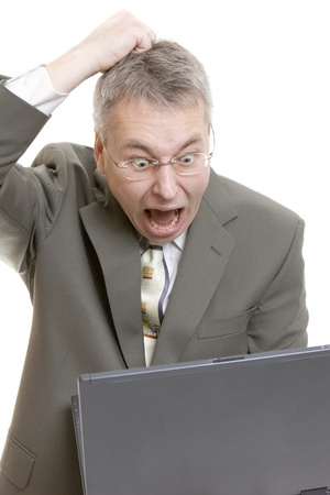 Businessman computer virus bug crash  photo