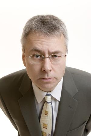 raised eyebrows: Doubting Thomas businessman portrait  Stock Photo