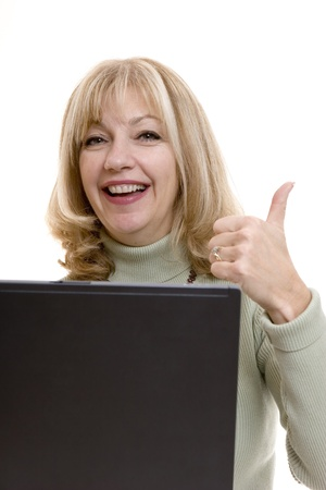 euphoric: Businesswoman thumbs up