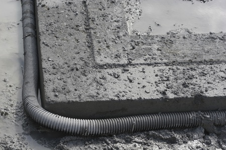 Footing and French drain closeup detail photo