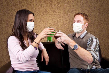 indoors: Germaphobe couple on a date