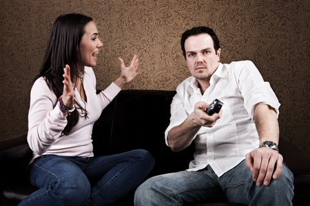 remote communication: Couch potato and angry wife