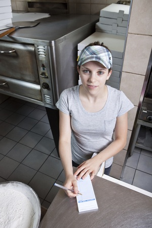 Waitress taking order in a fast food restaurant  photo