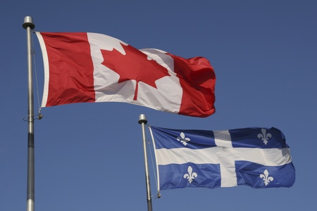 Quebec and Canadian Flags  photo