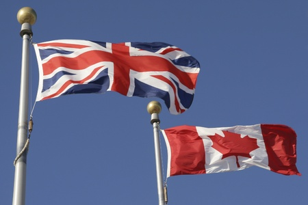 Canadian and British Flags  photo
