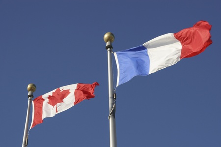 Canadian and French Flags  photo