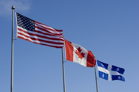 US Canadian and Quebec Flags  photo