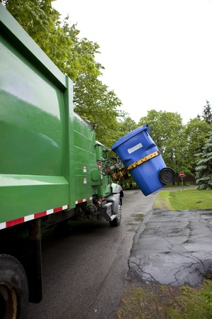 garbage can: Recycling truck picking up bin - Vertical Version Stock Photo