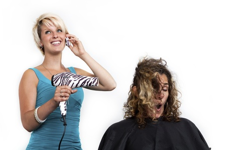 bad hair: distracted hairdresser