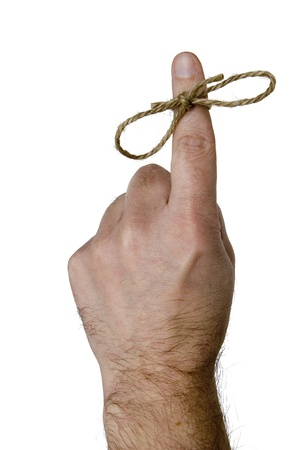 amnesia: Reminder finger with a tied string male Stock Photo