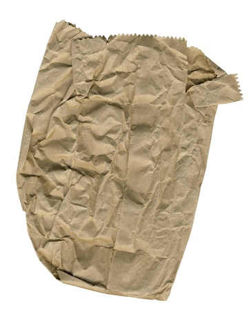 scan paper: Crumpled brown paper bag Stock Photo