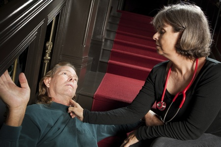 heartattack: Doctor checking pulse of heartattack victim Stock Photo