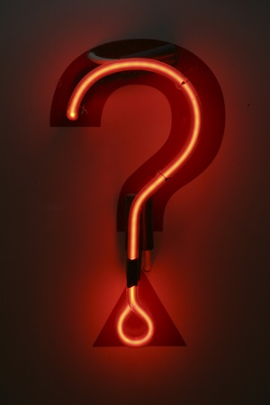 neon sign: Question mark neon signage