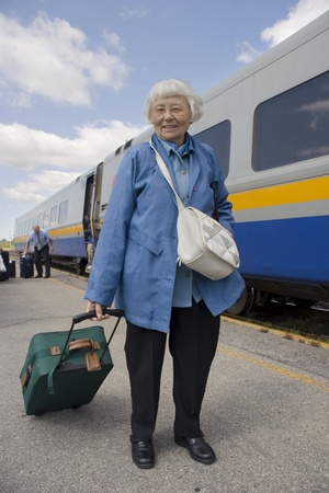 Senior woman train travel  Stock Photo - 11133542