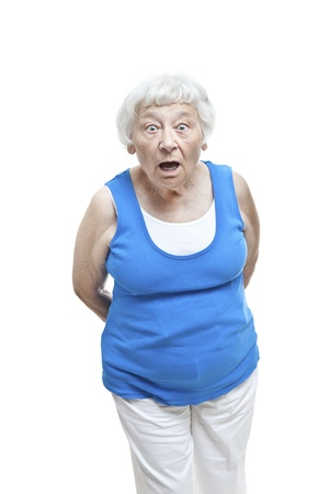 aghast: Shocked senior woman portrait  Stock Photo