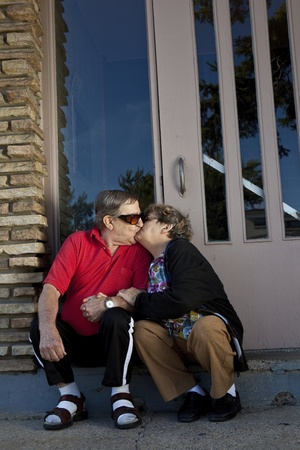Seniors in love kissing Stock Photo - 11134174