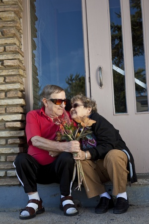 Seniors flirting offering flowers  Stock Photo - 11134177