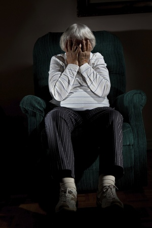 recluse: Stressed senior woman