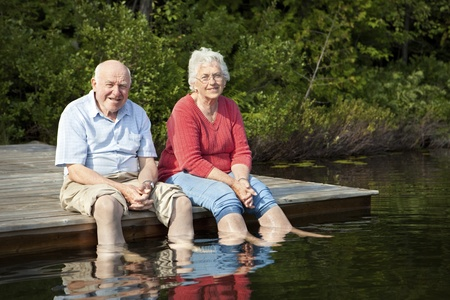 older couples: Senior couple enjoying a day at the lake