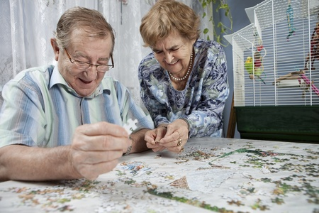 年配のカップルをパズルに取り組んで