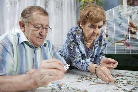 Senior couple working on a puzzle Stock Photo - 11134153