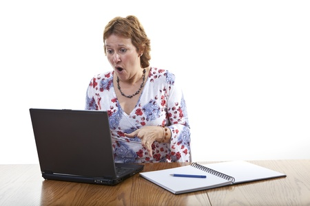 frown: Business woman computer virus bug crash