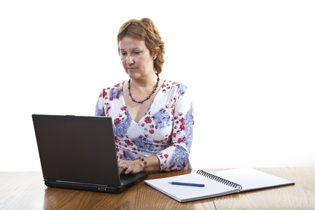 teleworker: Businesswoman working on a laptop