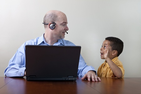 teleworker: Working from home distractions Stock Photo