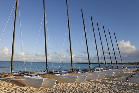 holguin: Catamaran sailboats at an All Inclusive Vacation Resort in Cuba