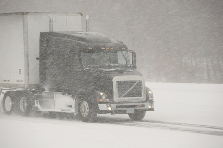 Semi-Truck winter driving Stock Photo - 11676927