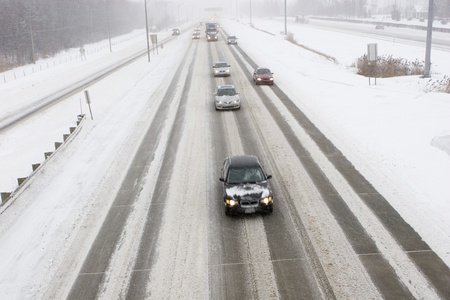 road conditions: Winter Driving Canada  Stock Photo