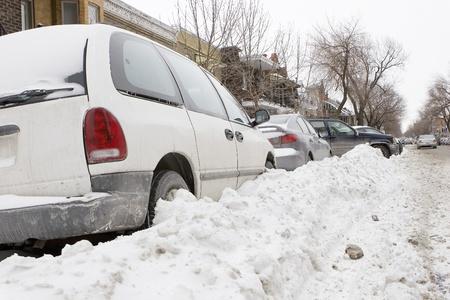 heap snow: Winter Parking Stock Photo