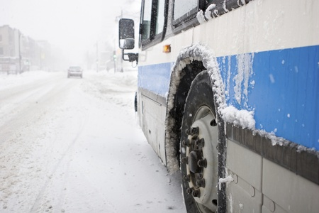 City Bus in a Blizzard Stock Photo - 11676946
