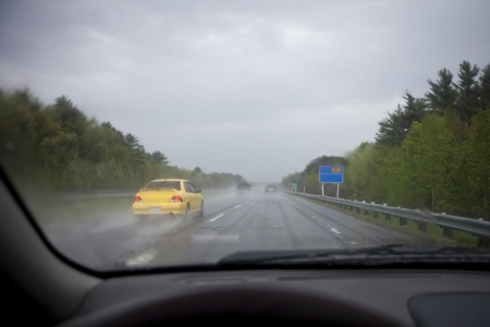 hydroplaning: Slippery Road Conditions  Stock Photo