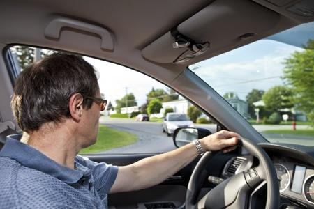 Driver turning at street corner