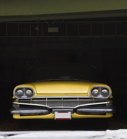 Vintage car in garage for winter  Archivio Fotografico