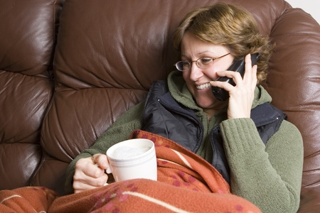 home keeping: Woman talking on wireless phone  Stock Photo